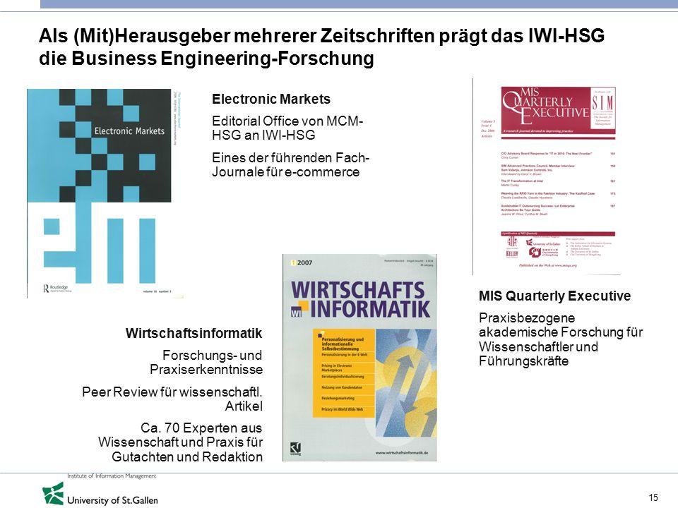 Als (Mit)Herausgeber mehrerer Zeitschriften prägt das IWI-HSG die Business Engineering-Forschung