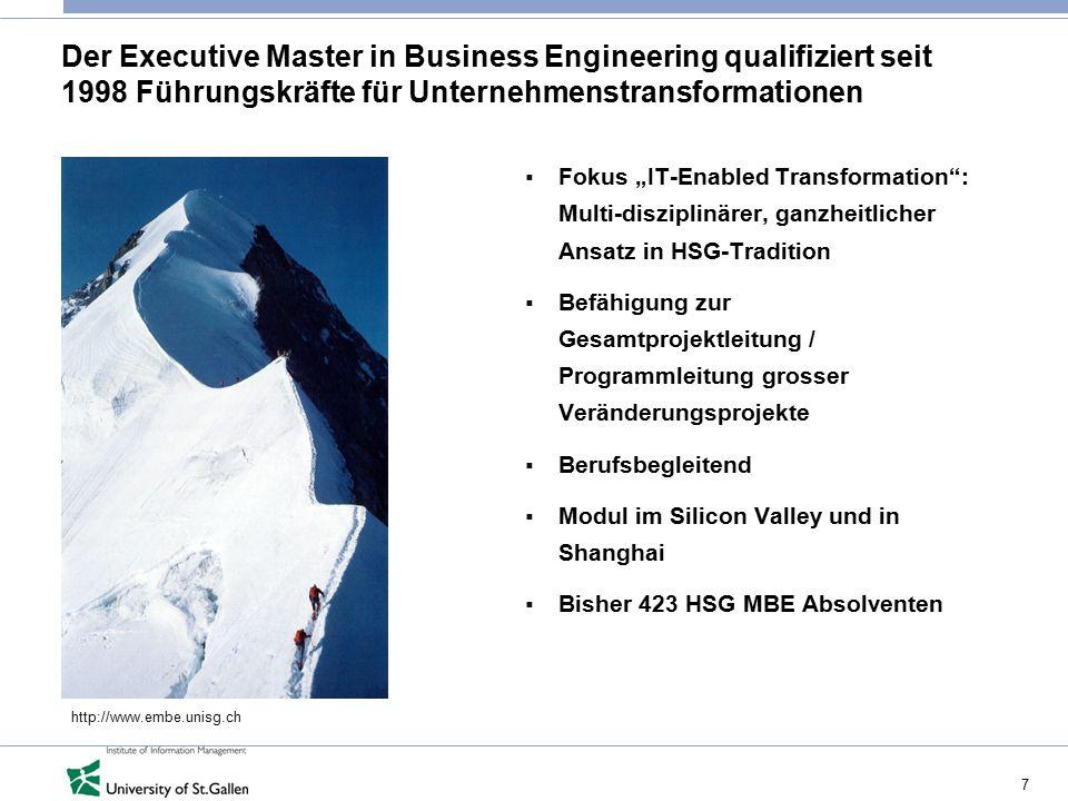 Der Executive Master in Business Engineering qualifiziert seit 1998 Führungskräfte für Unternehmenstransformationen