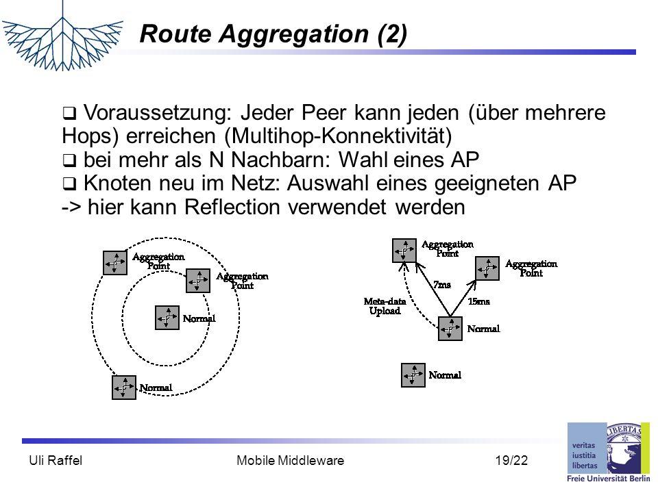 Route Aggregation (2) Voraussetzung: Jeder Peer kann jeden (über mehrere Hops) erreichen (Multihop-Konnektivität)