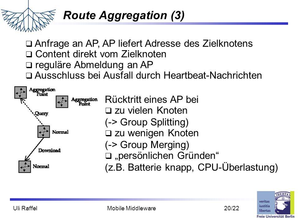 Route Aggregation (3) Anfrage an AP, AP liefert Adresse des Zielknotens. Content direkt vom Zielknoten.