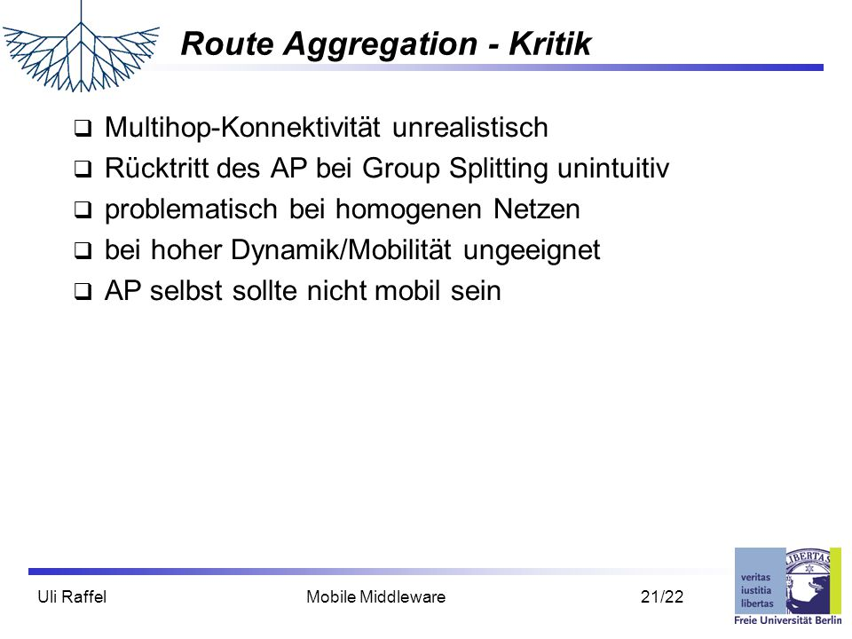 Route Aggregation - Kritik