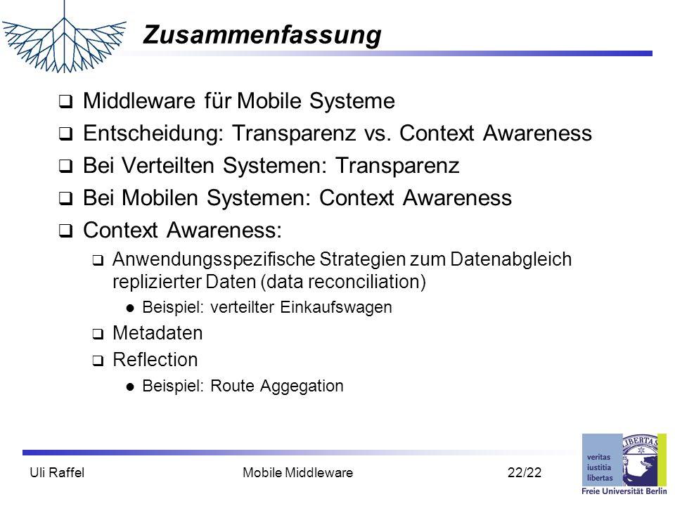 Zusammenfassung Middleware für Mobile Systeme