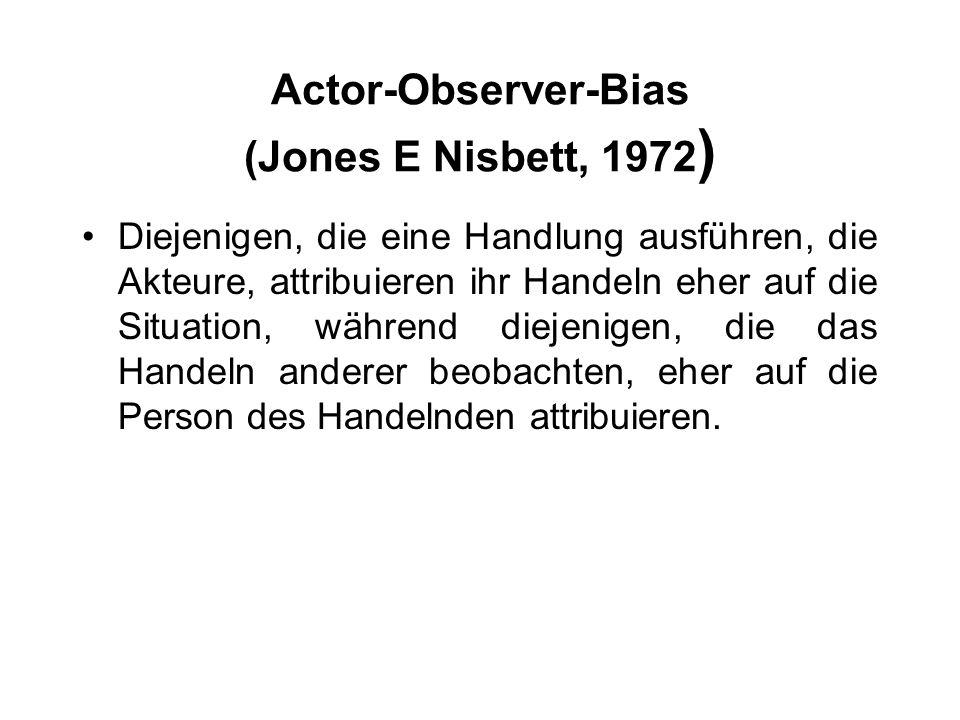 Actor-Observer-Bias (Jones E Nisbett, 1972)