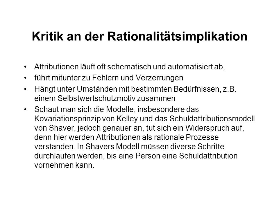 Kritik an der Rationalitätsimplikation