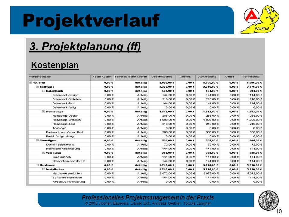 Projektverlauf 3. Projektplanung (ff) Kostenplan