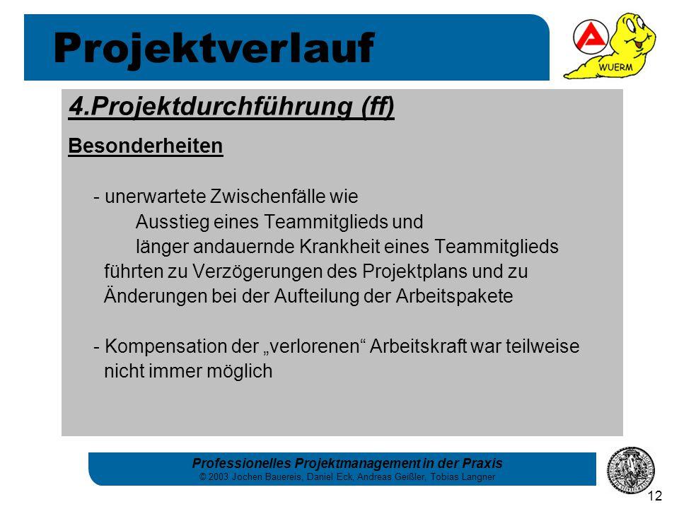 Projektverlauf 4.Projektdurchführung (ff) Besonderheiten