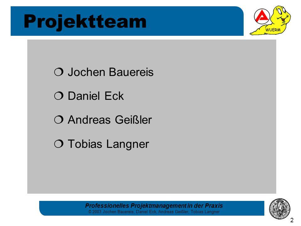 Projektteam Jochen Bauereis Daniel Eck Andreas Geißler Tobias Langner
