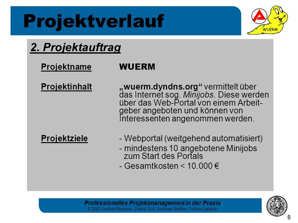 Projektverlauf 2. Projektauftrag Projektname WUERM