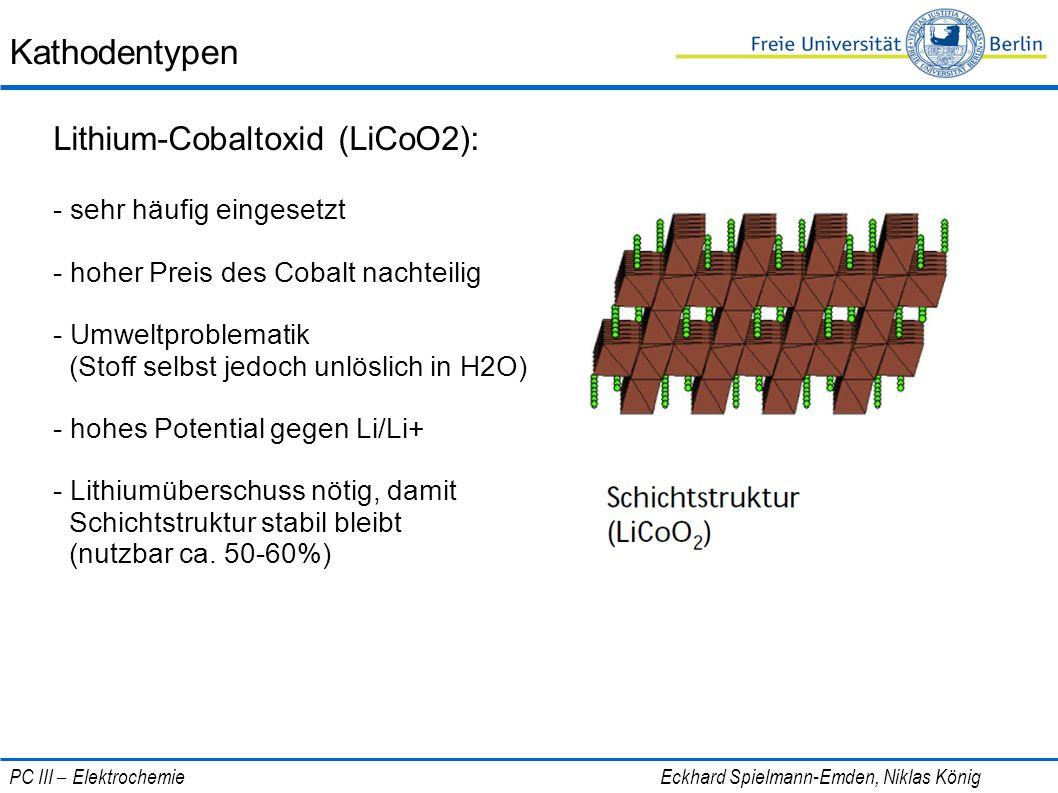 Kathodentypen Lithium-Cobaltoxid (LiCoO2): - sehr häufig eingesetzt