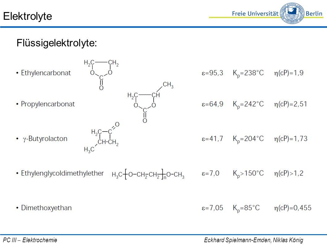 Elektrolyte Flüssigelektrolyte: