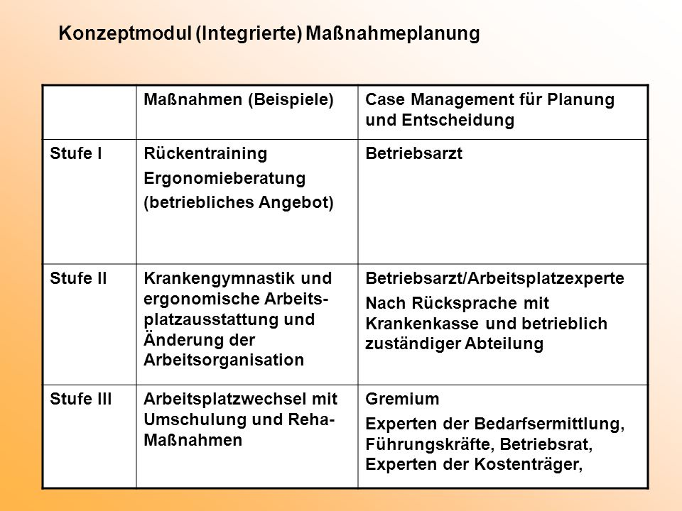 Konzeptmodul (Integrierte) Maßnahmeplanung