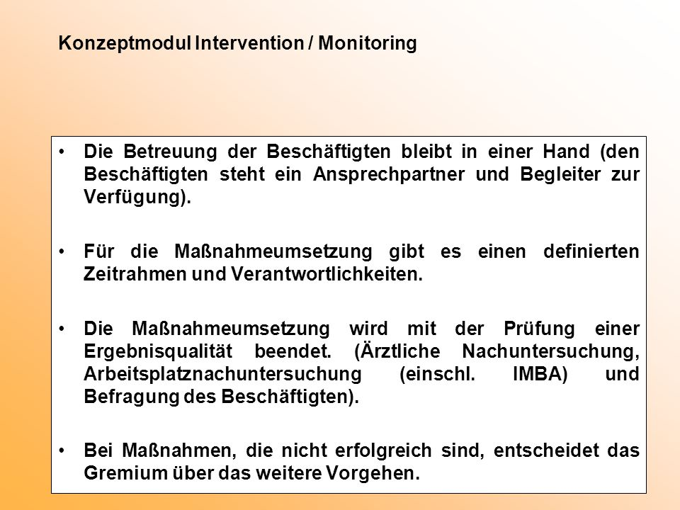 Konzeptmodul Intervention / Monitoring