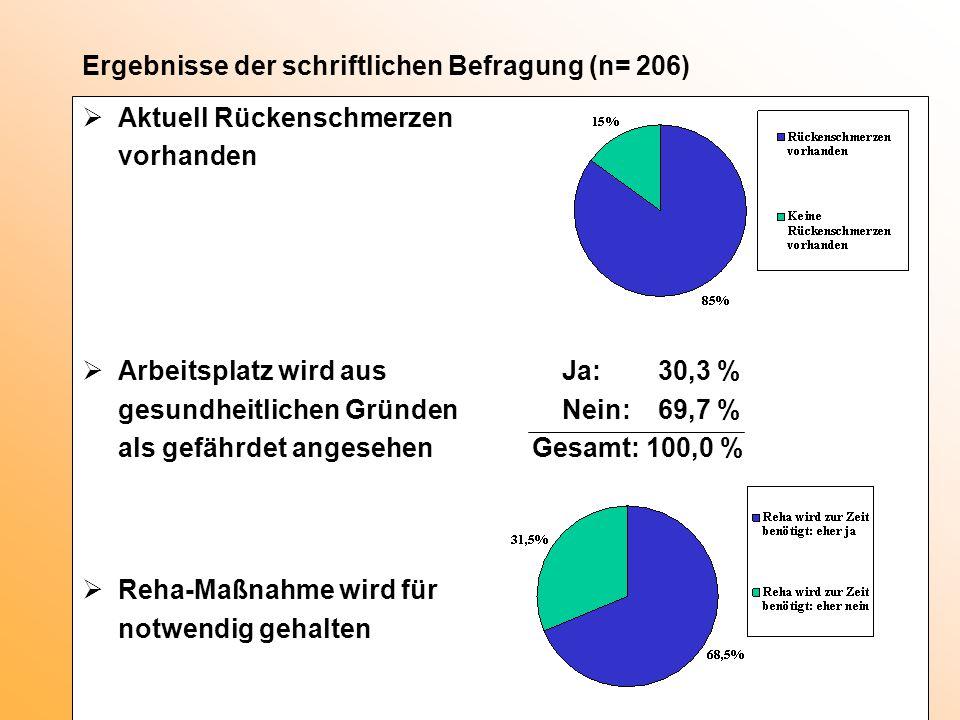 Ergebnisse der schriftlichen Befragung (n= 206)