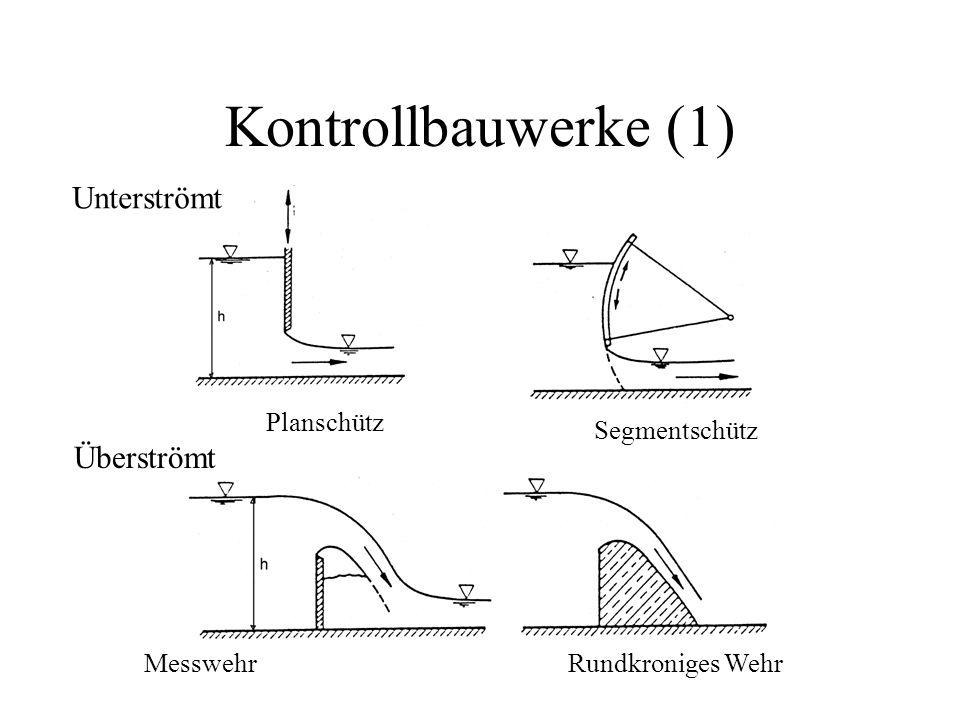 Kontrollbauwerke (1) Unterströmt Überströmt Planschütz Segmentschütz