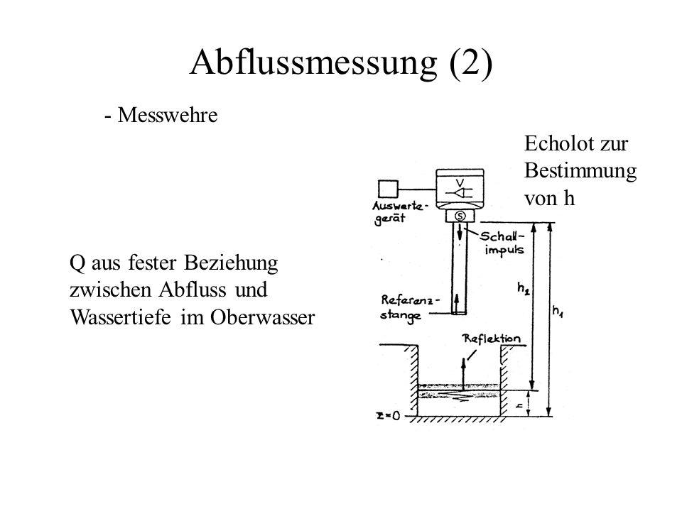 Abflussmessung (2) - Messwehre Echolot zur Bestimmung von h