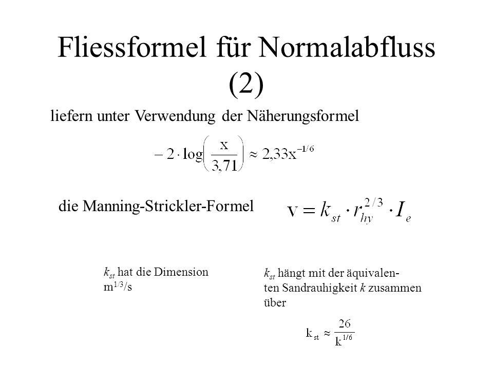 Fliessformel für Normalabfluss (2)