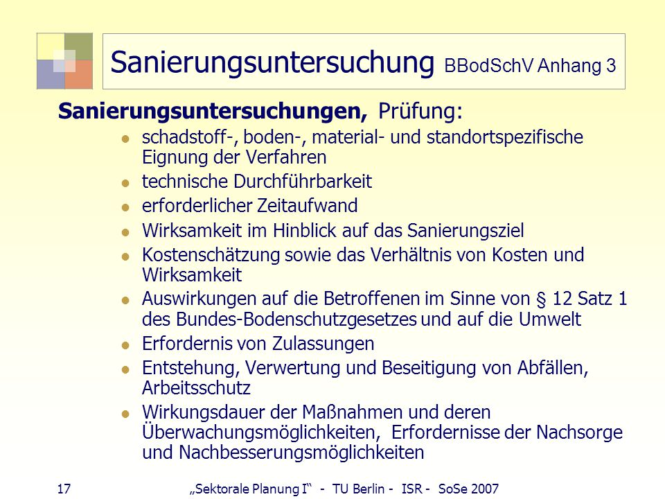 Sanierungsuntersuchung BBodSchV Anhang 3