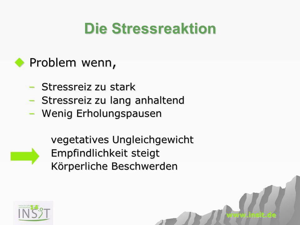 Die Stressreaktion Problem wenn, Stressreiz zu stark