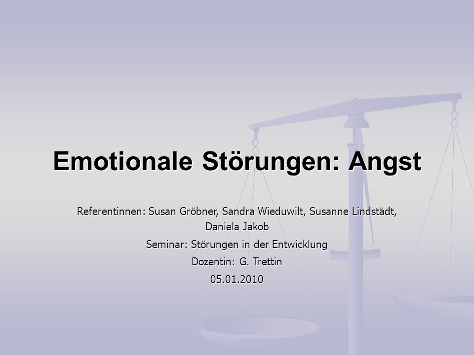 Emotionale Störungen: Angst