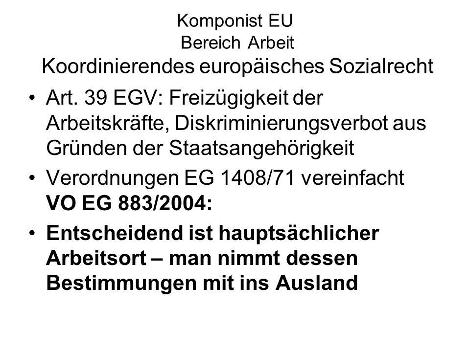 Komponist EU Bereich Arbeit Koordinierendes europäisches Sozialrecht