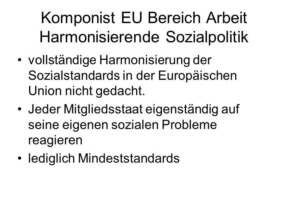 Komponist EU Bereich Arbeit Harmonisierende Sozialpolitik