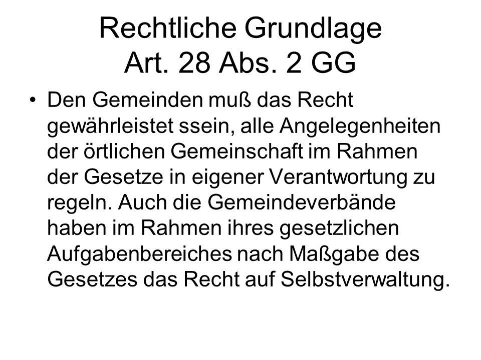 Rechtliche Grundlage Art. 28 Abs. 2 GG