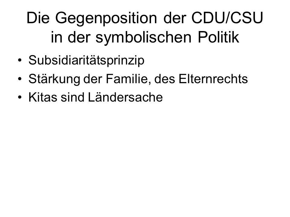 Die Gegenposition der CDU/CSU in der symbolischen Politik