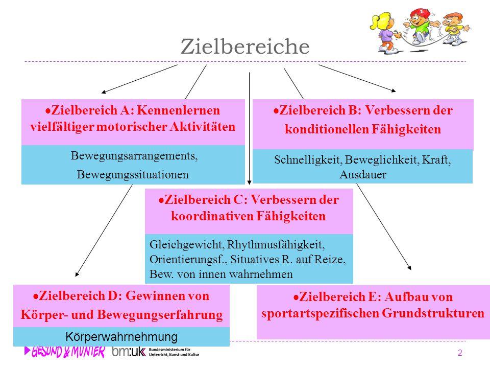 Zielbereiche Zielbereich D: Gewinnen von Körper- und Bewegungserfahrung. Zielbereich A: Kennenlernen vielfältiger motorischer Aktivitäten.