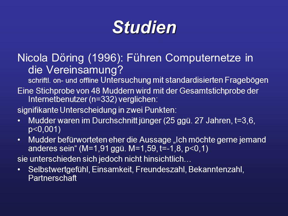 Studien Nicola Döring (1996): Führen Computernetze in die Vereinsamung schriftl. on- und offline Untersuchung mit standardisierten Fragebögen.