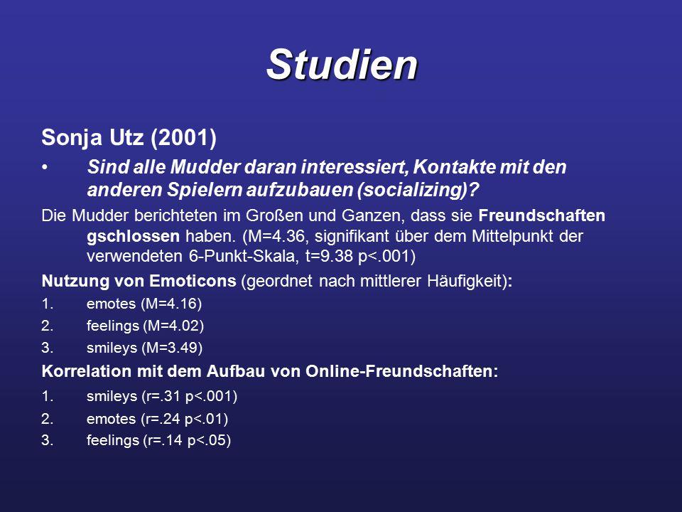 Studien Sonja Utz (2001) Sind alle Mudder daran interessiert, Kontakte mit den anderen Spielern aufzubauen (socializing)