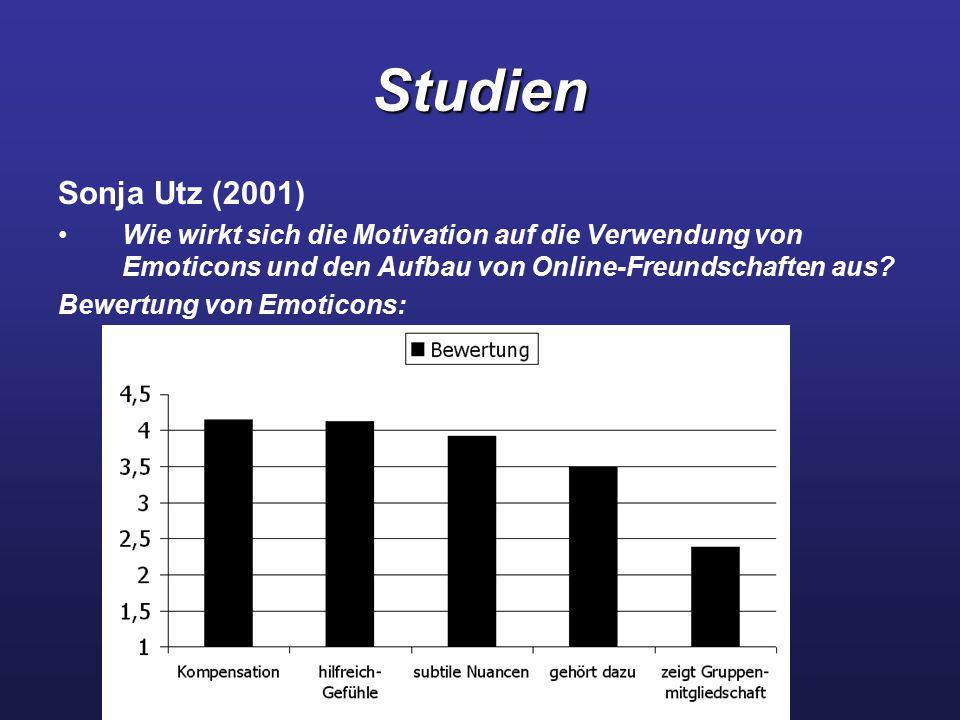 Studien Sonja Utz (2001) Wie wirkt sich die Motivation auf die Verwendung von Emoticons und den Aufbau von Online-Freundschaften aus