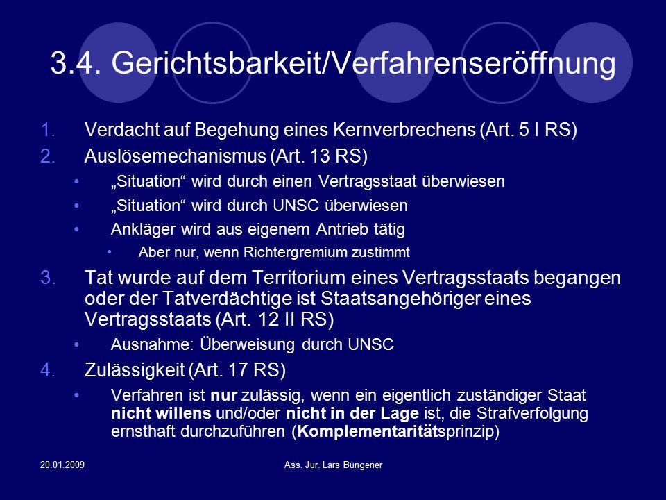 3.4. Gerichtsbarkeit/Verfahrenseröffnung