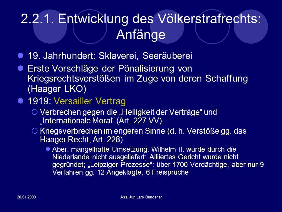 2.2.1. Entwicklung des Völkerstrafrechts: Anfänge