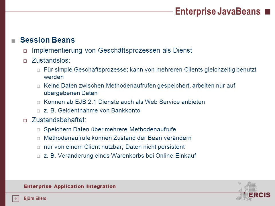 Enterprise JavaBeans Session Beans