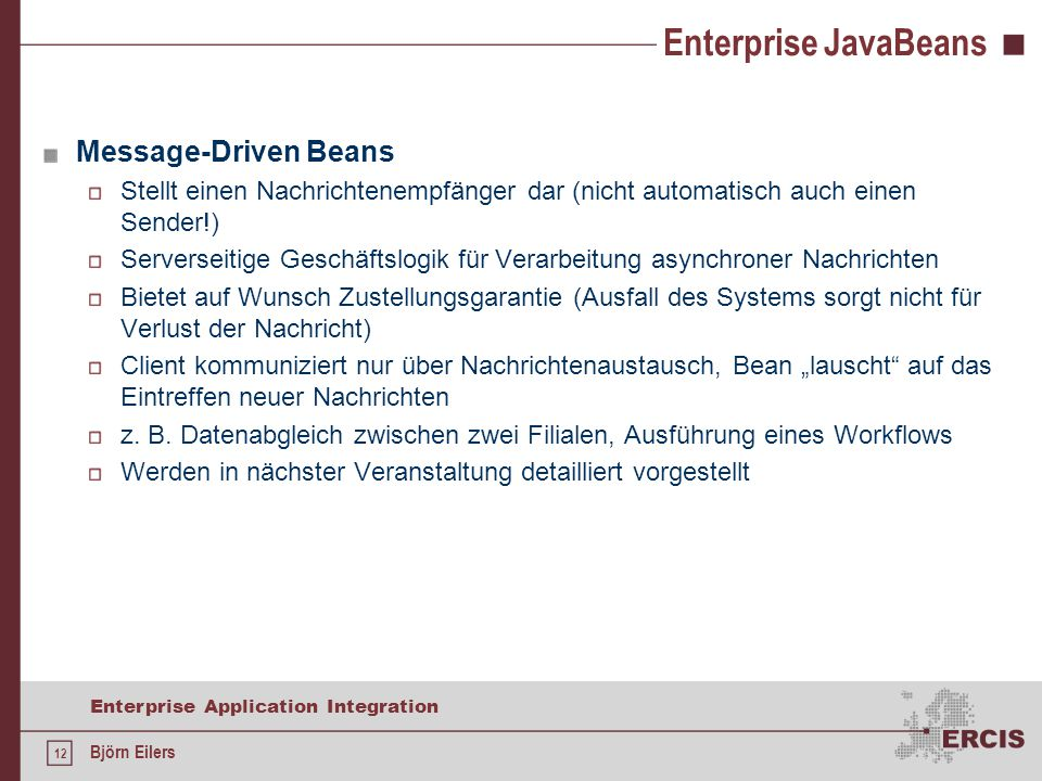 Enterprise JavaBeans Message-Driven Beans