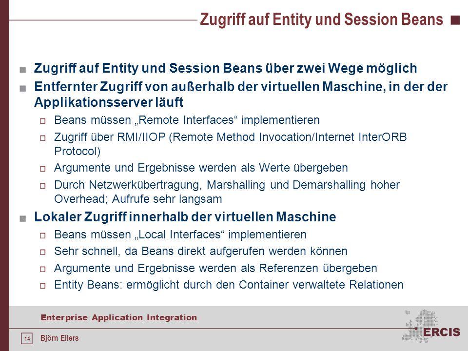 Zugriff auf Entity und Session Beans