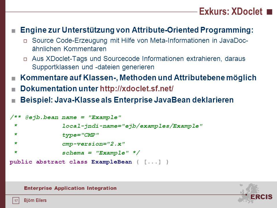 Exkurs: XDoclet Engine zur Unterstützung von Attribute-Oriented Programming: