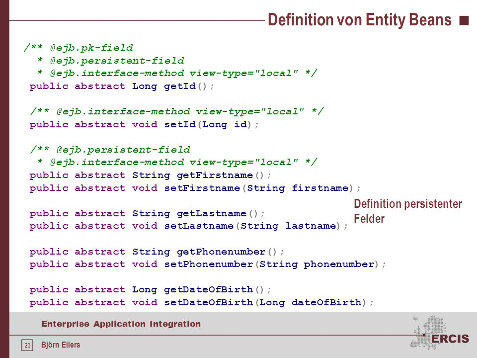 Definition von Entity Beans