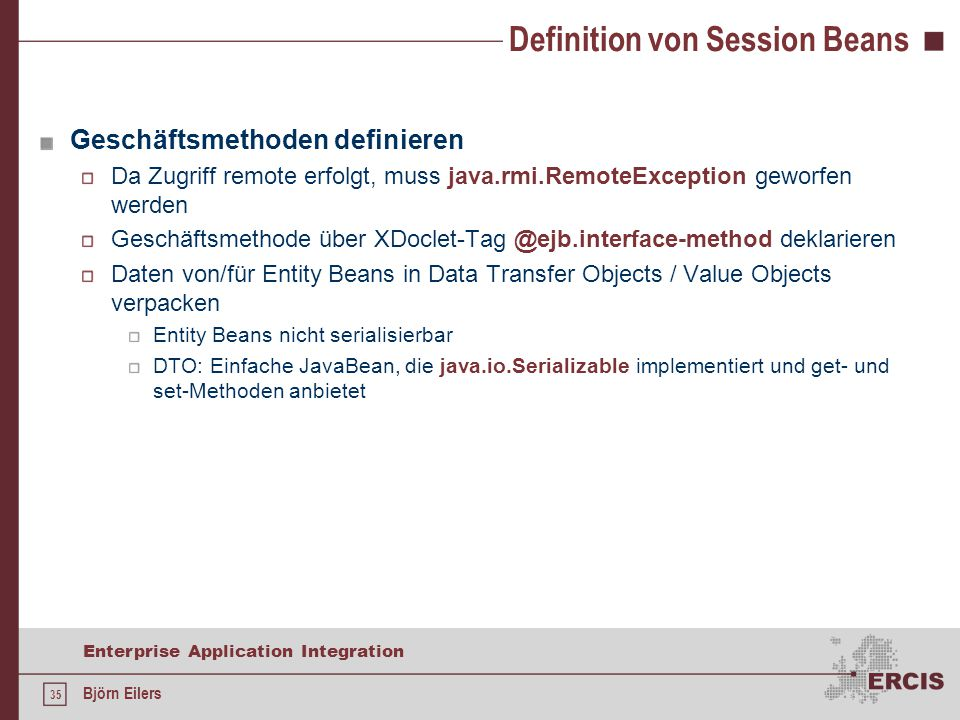 Definition von Session Beans
