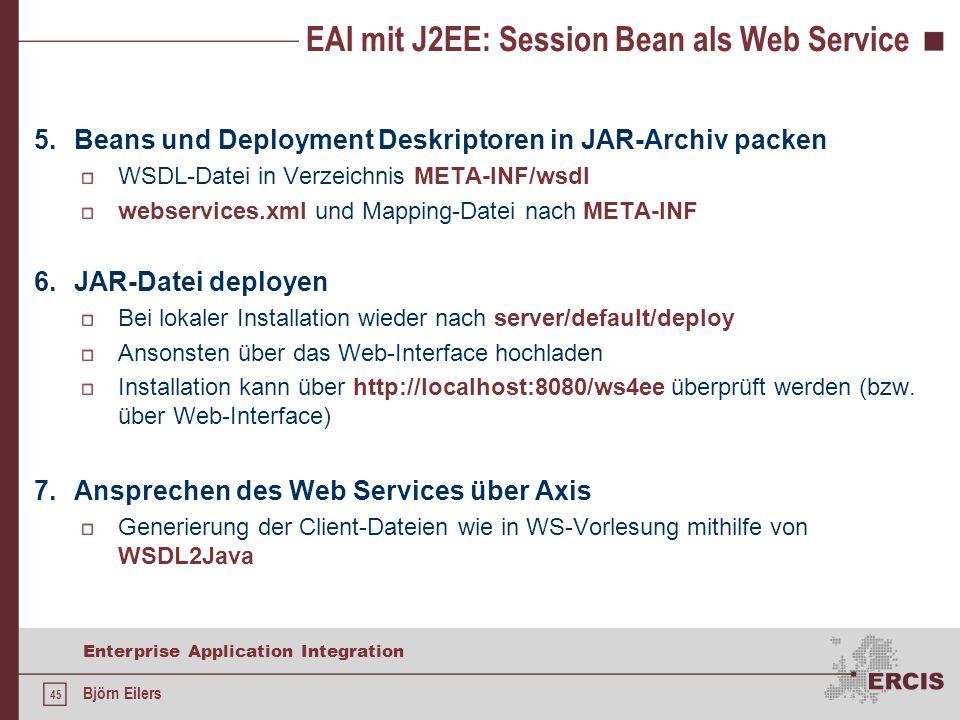 EAI mit J2EE: Session Bean als Web Service