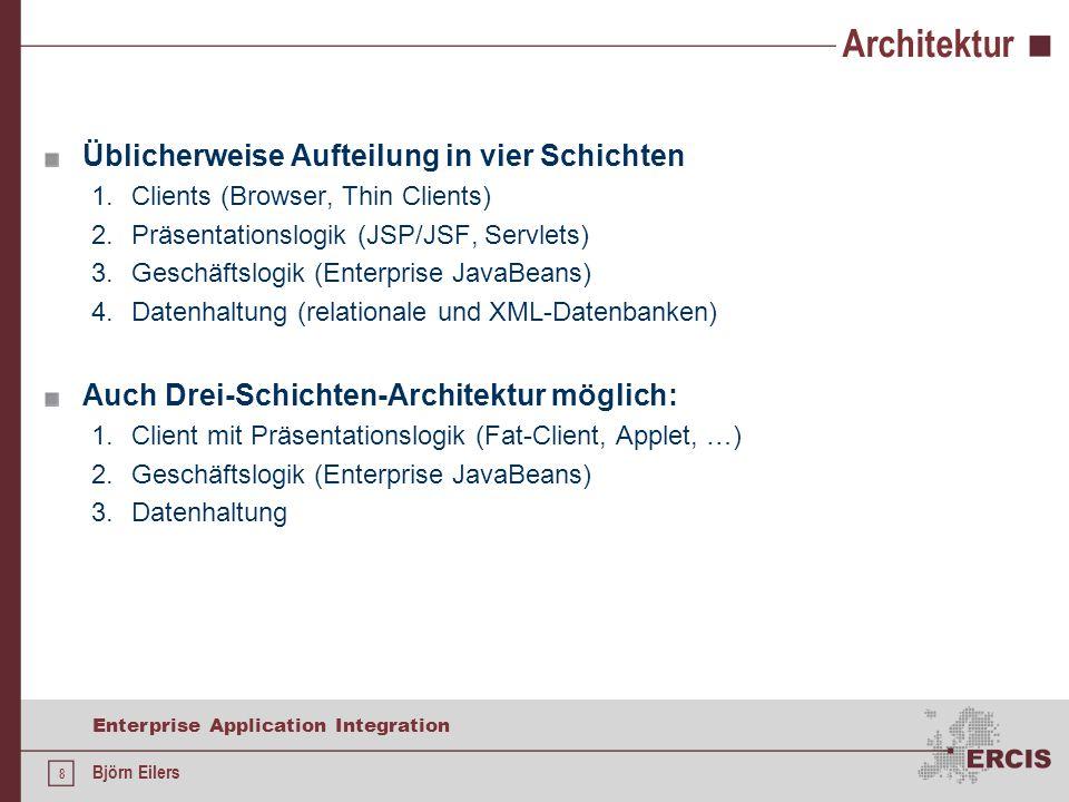 Architektur Üblicherweise Aufteilung in vier Schichten