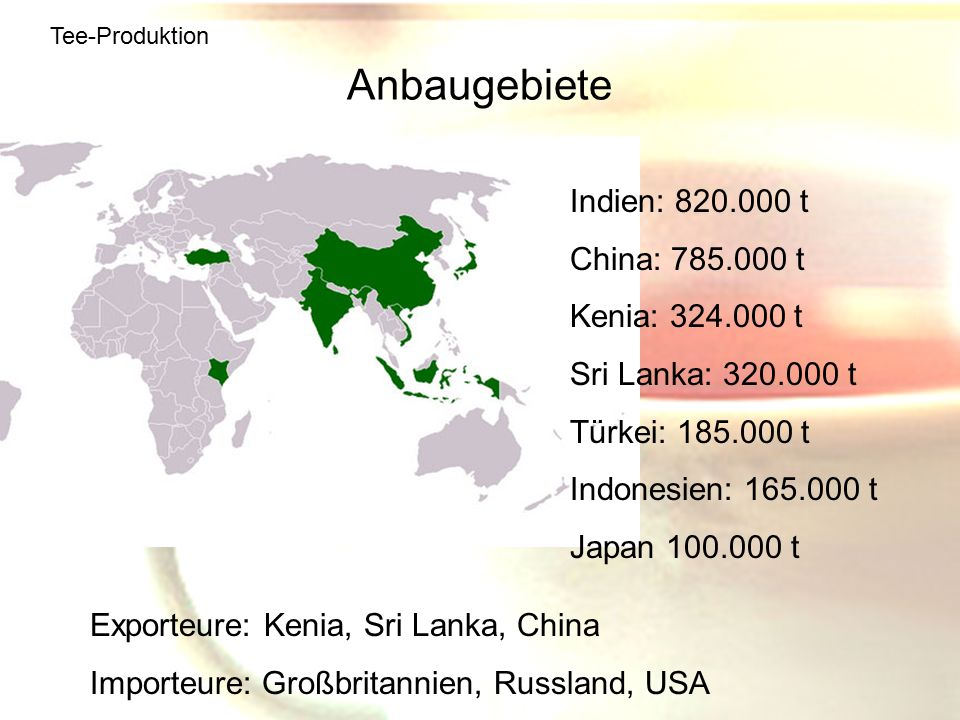 Anbaugebiete Indien: 820.000 t China: 785.000 t Kenia: 324.000 t
