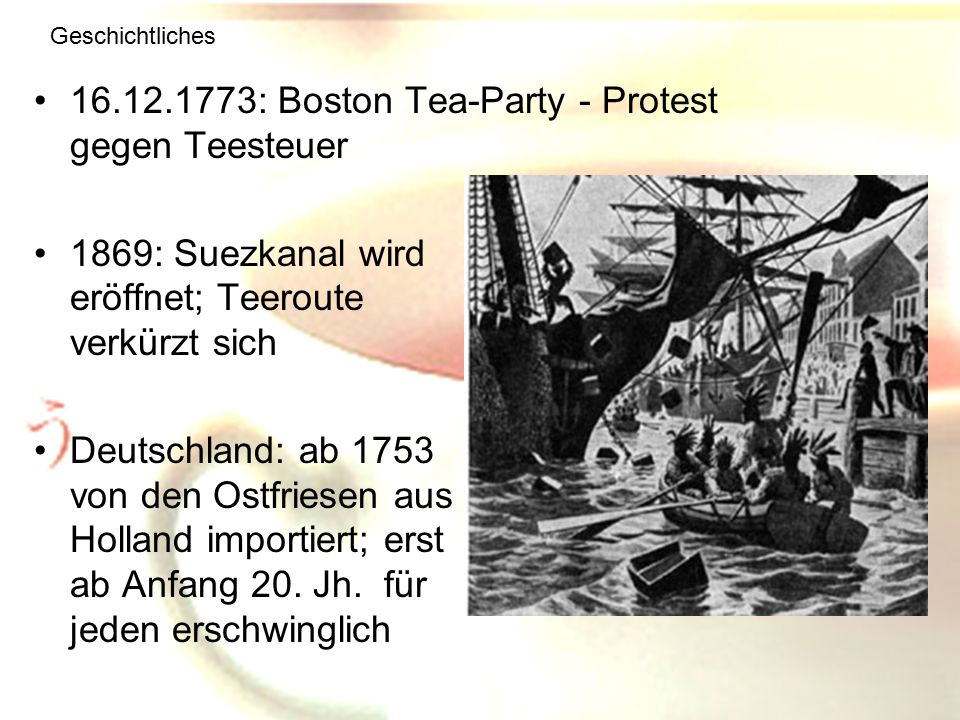 16.12.1773: Boston Tea-Party - Protest gegen Teesteuer