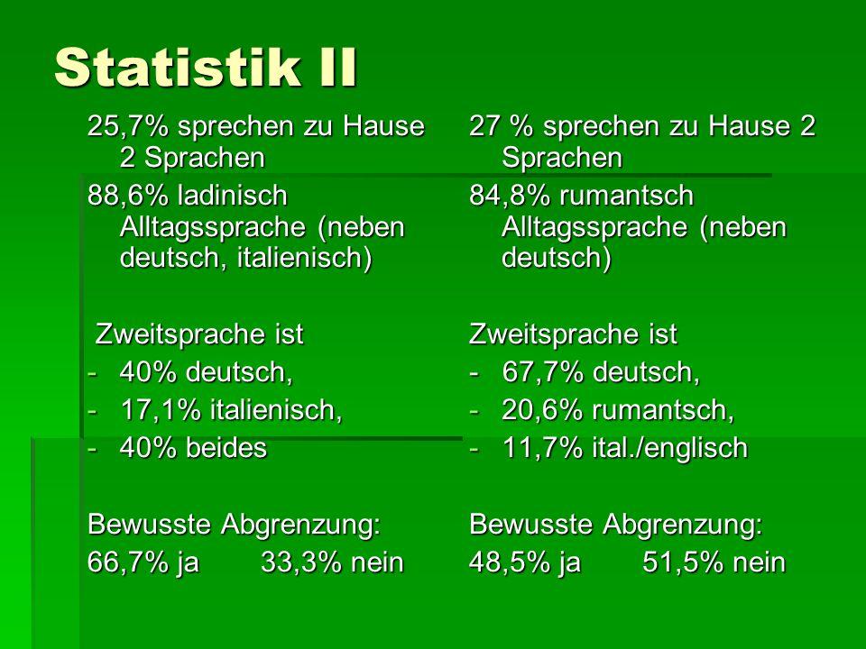 Statistik II 25,7% sprechen zu Hause 2 Sprachen