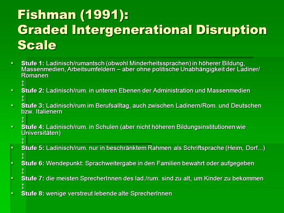 Fishman (1991): Graded Intergenerational Disruption Scale