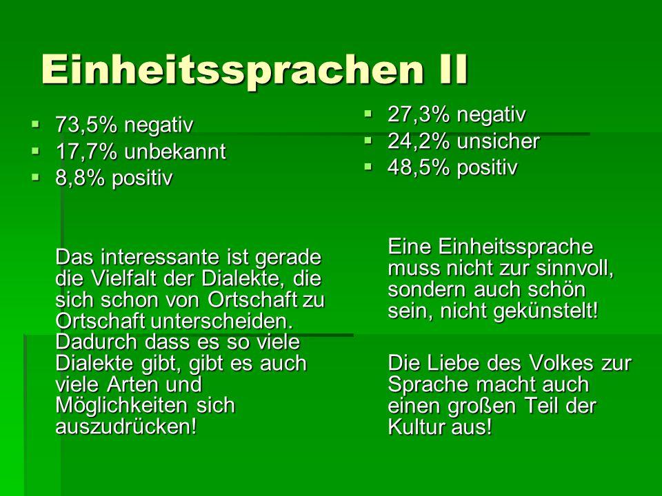 Einheitssprachen II 27,3% negativ 24,2% unsicher 48,5% positiv