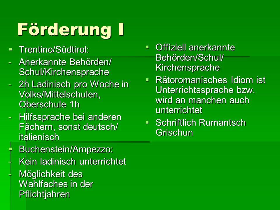 Förderung I Offiziell anerkannte Behörden/Schul/ Kirchensprache