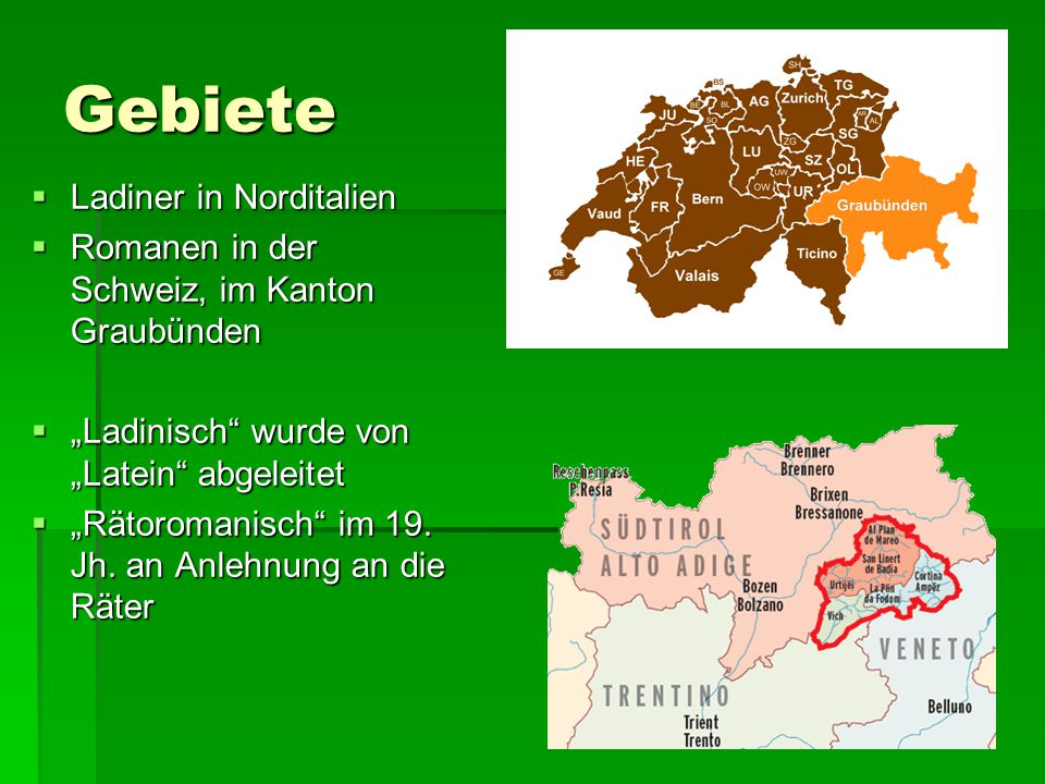 Gebiete Ladiner in Norditalien