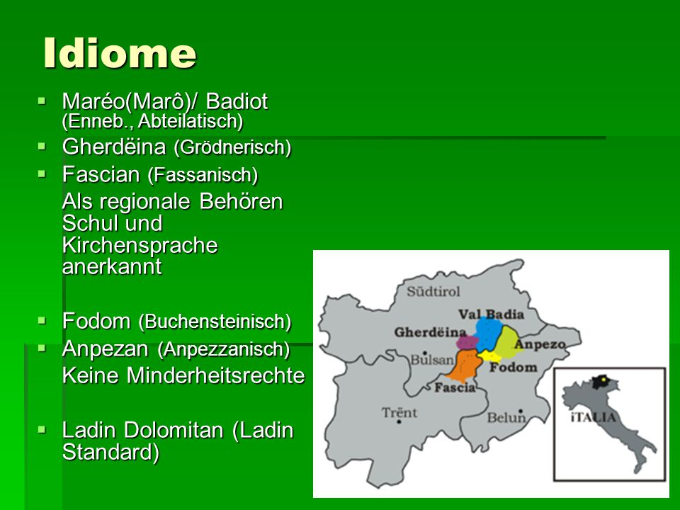 Idiome Maréo(Marô)/ Badiot (Enneb., Abteilatisch)