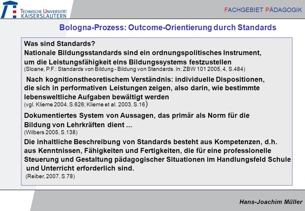 Bologna-Prozess: Outcome-Orientierung durch Standards